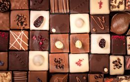 Assortment of fine chocolate candies, white, dark and...
