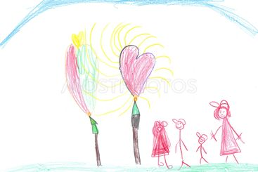 Children's picture with a family and hearts