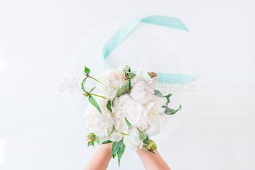 Top view female hands holding beautiful white peony...
