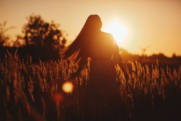 Young woman Girl in field in Sunset in spring, summer...