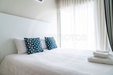 beautiful pillow on bed decoration in bed room