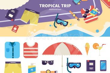 Kit for tropical trip on sand
