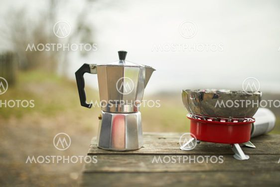 Process of making camping coffee outdoor with metal...