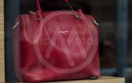 red leather luxury bag in Lancaster store showroom