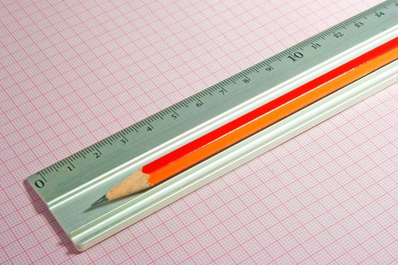 Ruler with pencil
