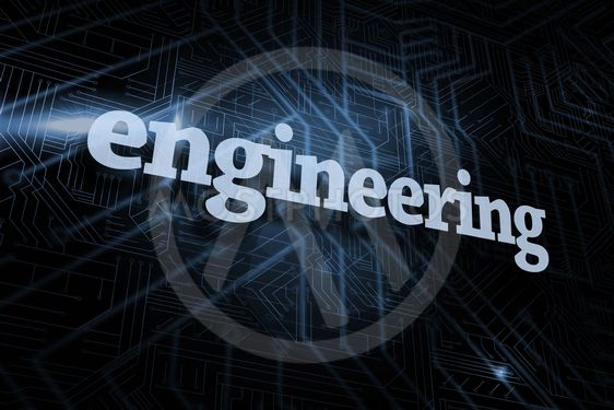 Engineering against futuristic black and blue background