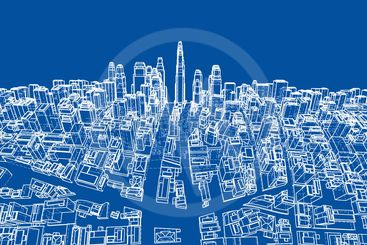 Wire-frame Twisted City, Blueprint Style. Vector