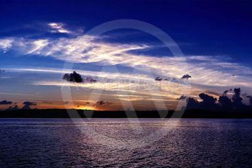 Vivid White Cloud Blue Sky Sunrise Seascape Australia