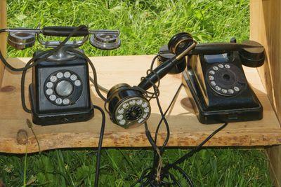 old telephones set