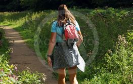 Woman is trekking