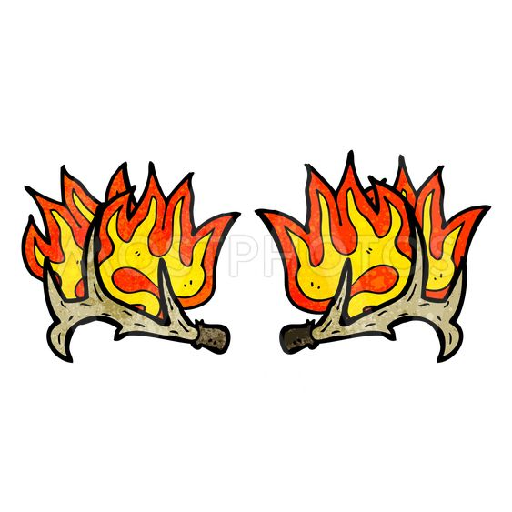 cartoon flaming antlers