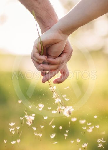 Young loving couple holding hands each other with bouquet...