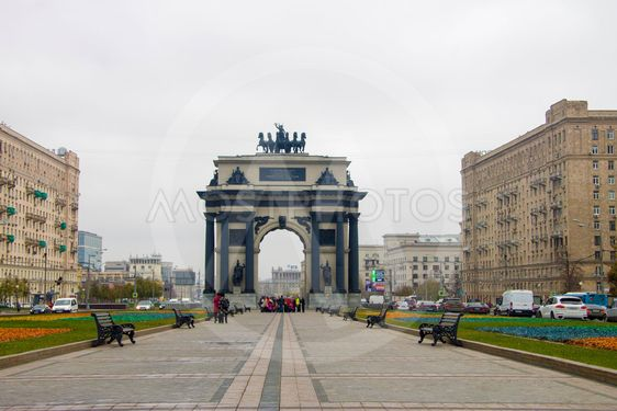 Triumphal Arch on Kutuzovsky Avenue in Moscow Russian...
