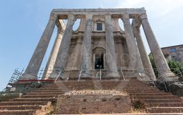 Antoninus and Faustina Temple at Roman Forum in city of...