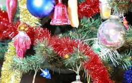 toys on green christmas fir