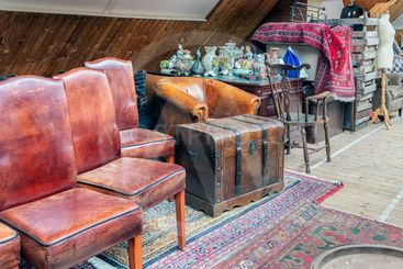Exposition of vintage furniture at Dutch flea market