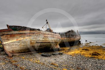 Abandoned boats in the coast