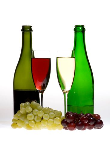 wine glasses with two bottle