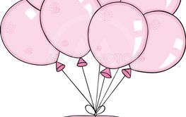 Pink macaroon flying with set of balloons