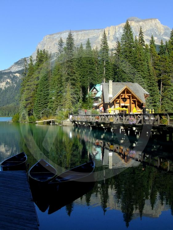 Wooden house at Emerald Lake, Yoho National Park, Canada