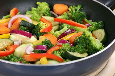 Healthy eating vegetables meal in cooking pan