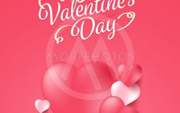 Happy valentine's day background with realistic heart....