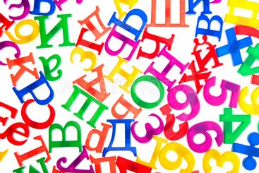 plastic letters and numbers isolated on white