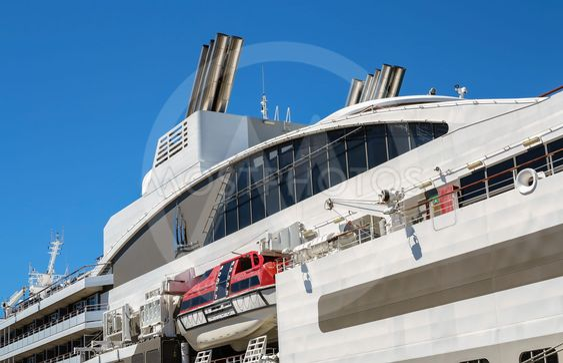 Upper decks of a cruise ship