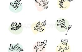 Floral Decoration Branch Leaf Plant Line Stroke Icon...