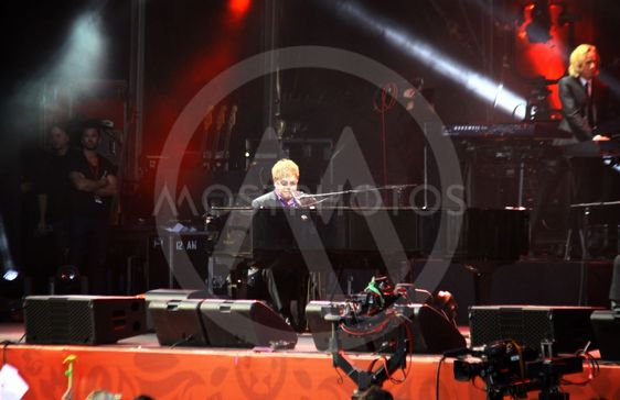 Singer Sir Elton John performs onstage