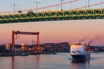 Ship under bridge in Gothenburg, Sweden