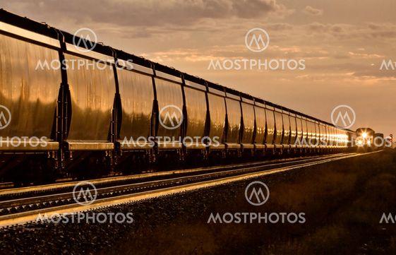 Tåg vid solnedgången