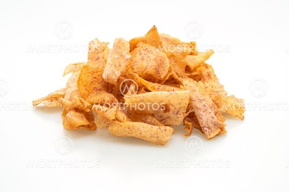 taro chips on white background