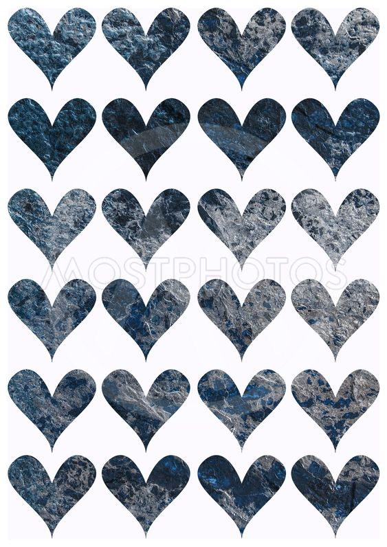 Decorative template with hearts for print