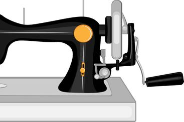 Rare sewing machine with manual drive - vector...