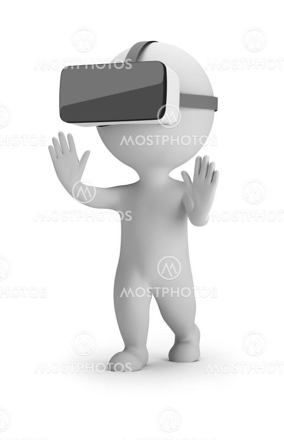 3d small people - virtual reality helmet