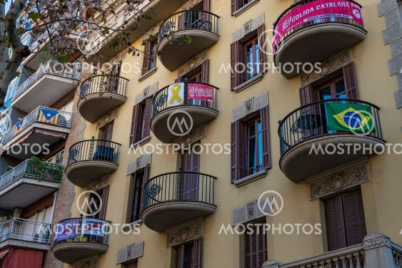 Old Building in the city center of Barcelona, Spain