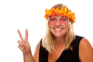 Beautiful Hippie Girl with Peace Signs