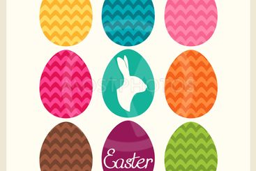 Easter card with easter eggs and easter bunny. Vector...