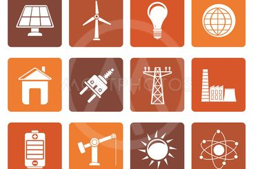 Flat power, energy and electricity icons