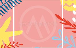 Summer greeting card template with tropical leaves on...