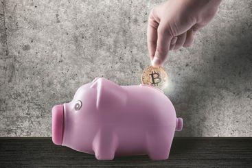 piggy bank and bitcoin