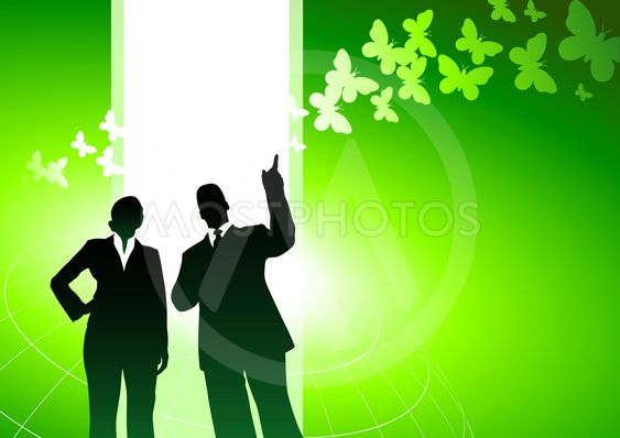 Business people with green nature internet background