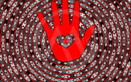 abstract background circles, eyes and red hand