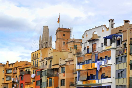 Colorful old houses in Girona, Catalonia, Spain