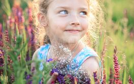 Little girl on nature in summer in a field with a...