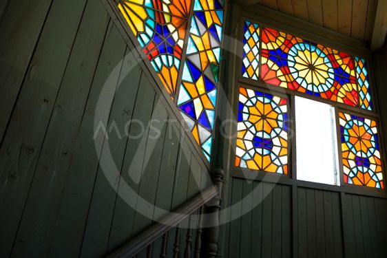 Stained glass window in old house at Tbilisi, Georgia