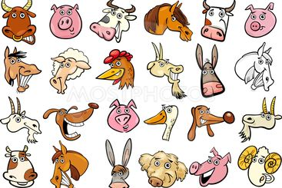 Cartoon farm animals heads huge set