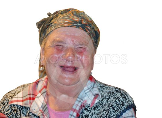 An old woman with funny laughing face