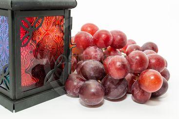 Red grapes and Ramadan lantern